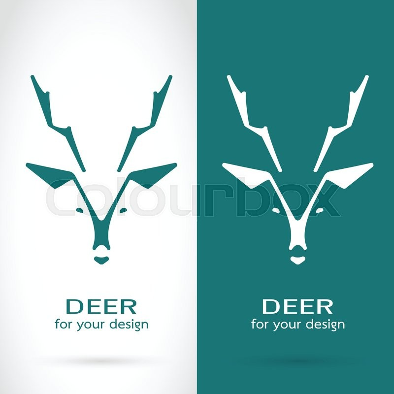 Vector Image Of A Deer Head Design On White Background And Blue