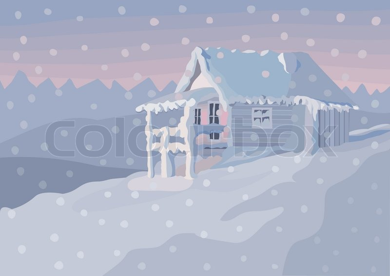 Winter Landscape In Pastel Pink And Blue Tones A Lonely Cottage The Snowy Woods