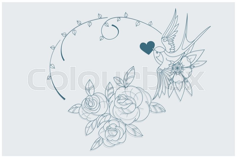 Coloring Page Motif With Old School Tattoo Love Theme Symbols