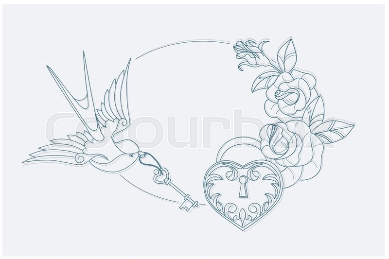 coloring page motif with old school tattoo love theme symbols postcard proportion vector