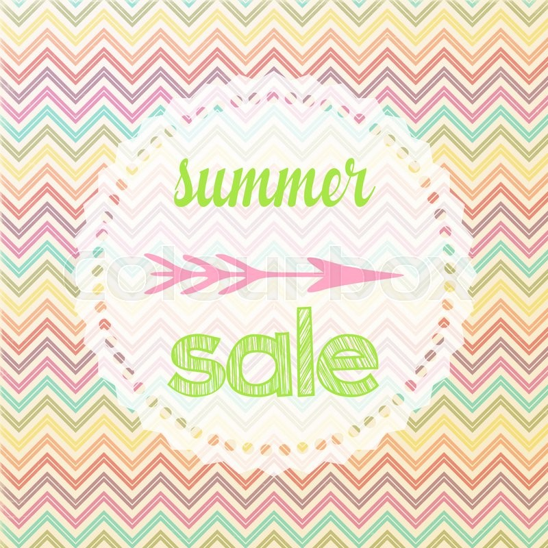 illustration of a summer sale sign with chevron pattern stock