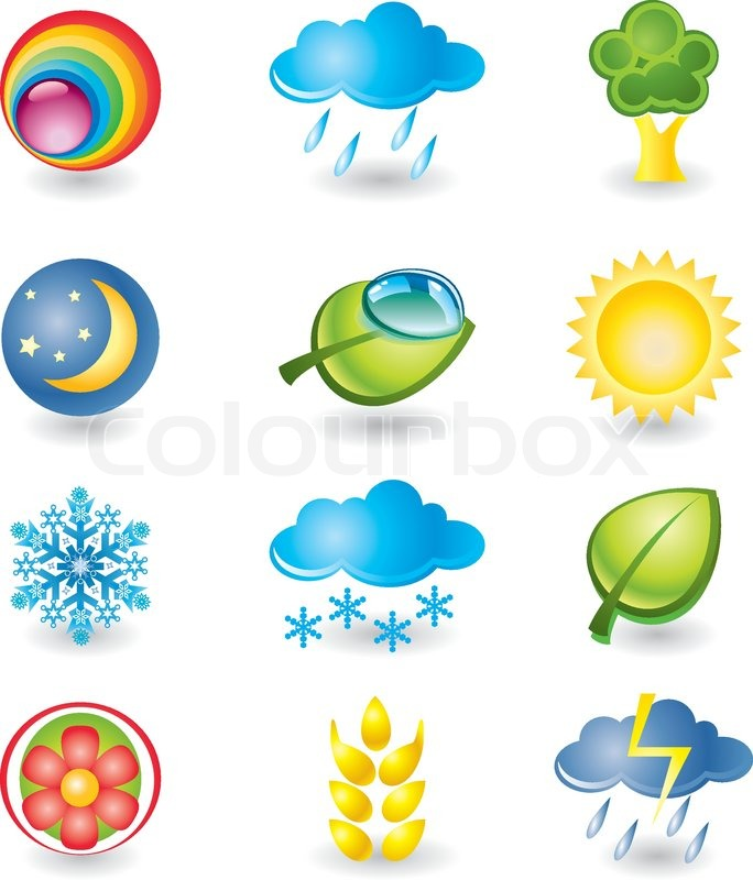 Set Of Design Elements Nature And Weather Stock Vector