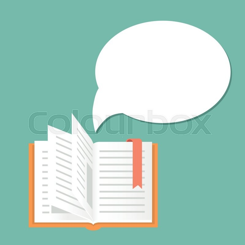 Open Book Background With Speech Bubble Vector Literature And