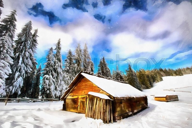 The Works In Style Of Watercolor Painting Cottage Snowy Mountains With Fabulous Winter Trees