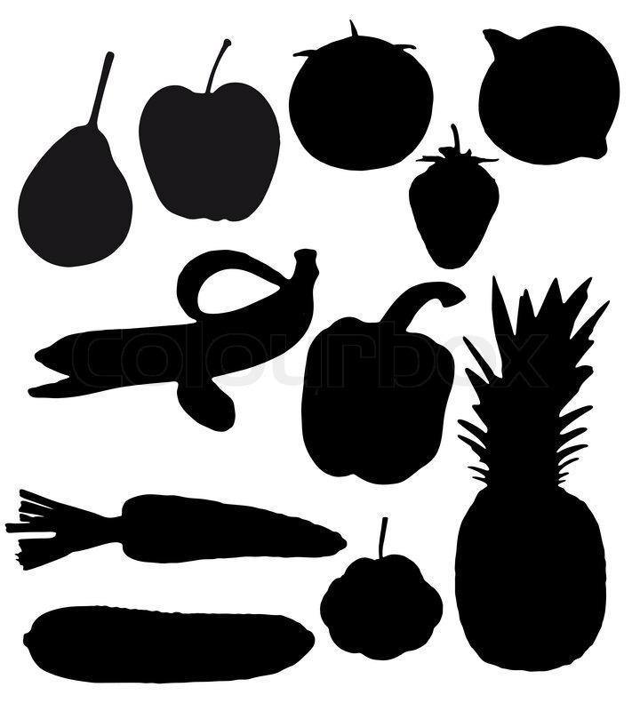 Силуэты фруктов