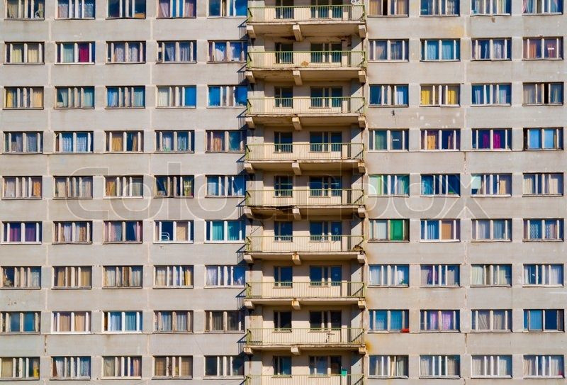 Wall Of An Apartment House With Multi Colored Windows Background | Stock  Photo | Colourbox