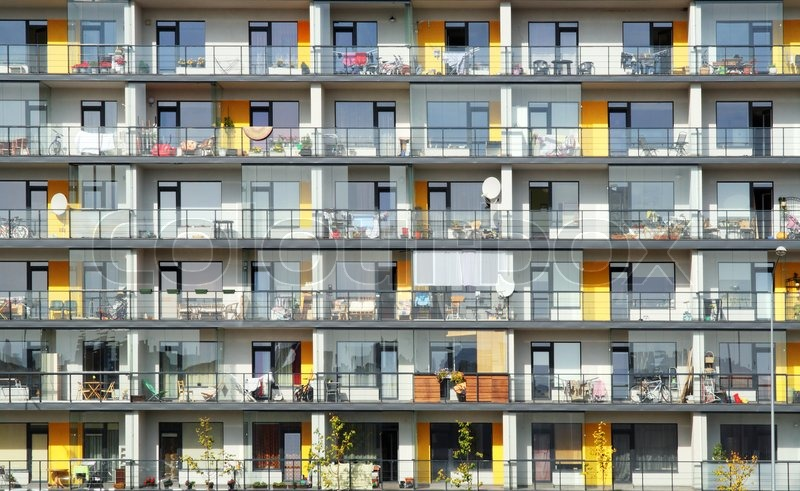 Apartment Building Facade windows and balconies of a multiroom apartment house of mass