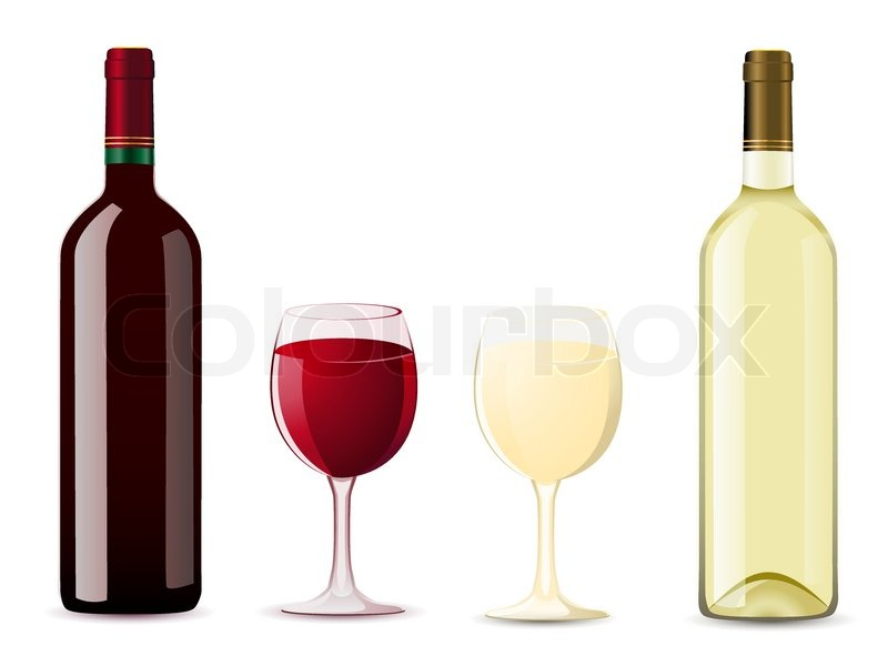 Bottle and glass with red white wine vector illustration for Red glass wine bottles suppliers