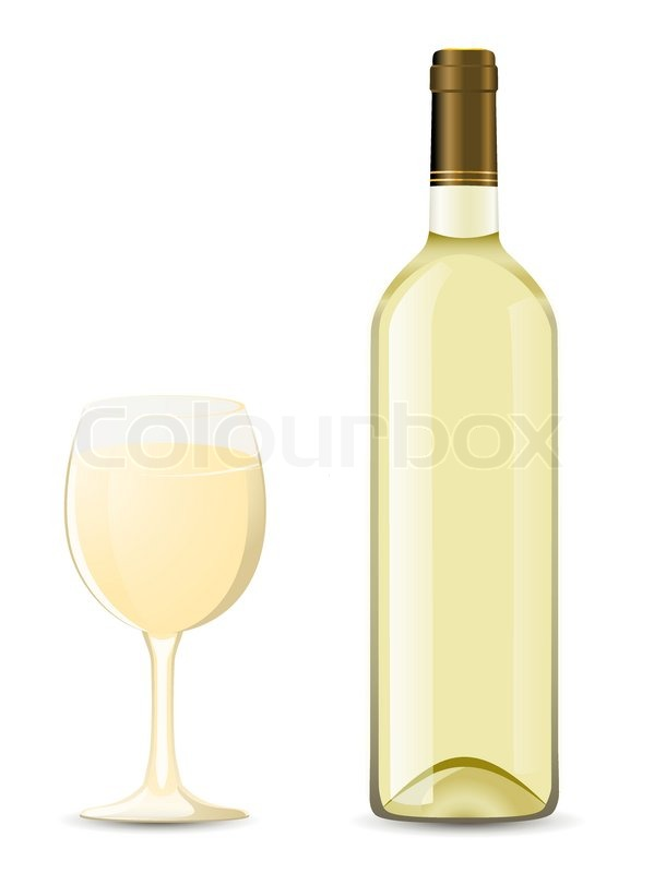 Bottle and glass with white wine vector illustration ...