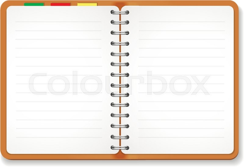 Illustration of a leather notebook with spiral colorful tabs – Blank Line Paper