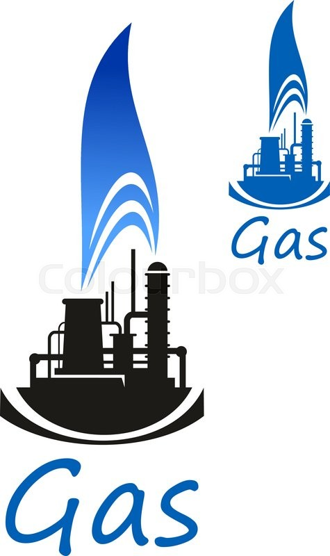 Gas And Oil Industry Icon With Chemical Industrial Plant Or Factory