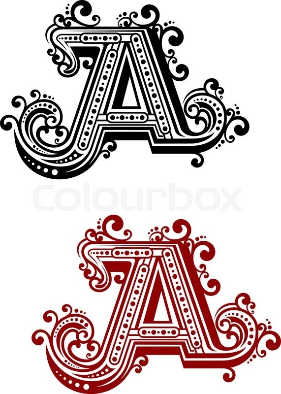 vintage capital letter a in red and black color variations with