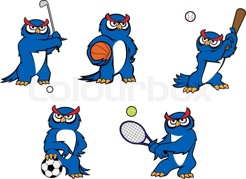 Cartoon Characters Playing Sports : Blue cartoon owl characters playing golf basketball