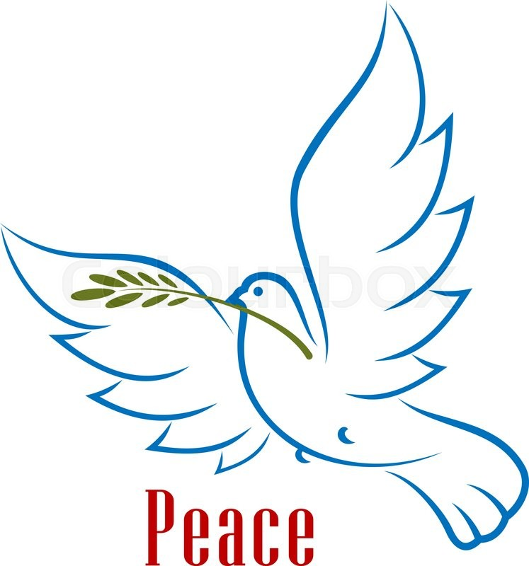 dove bird carrying green olive branch in beak as a peace symbol