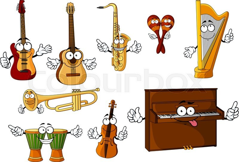 Cheerful Cartoon Classic Musical Instruments Characters