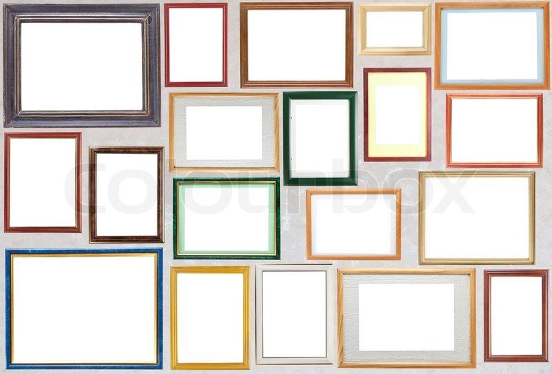 Mange forskellige blank træ rammer til billeder hænge på en væg. | stock foto | Colourbox