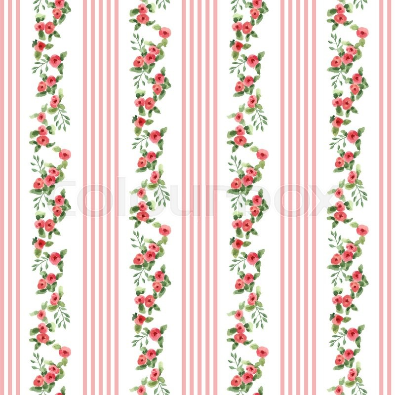 English Floral Pattern With Stripes Vector Vintage Wallpaper