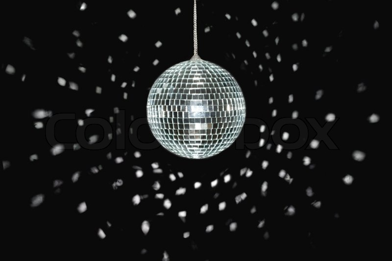 Spinning Discoball Over Black Stock Image Colourbox