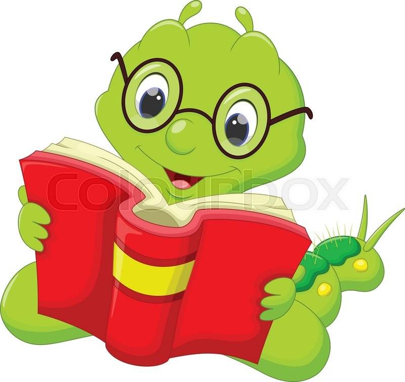 Cartoon Caterpillar Reading A Book Stock Vector Colourbox