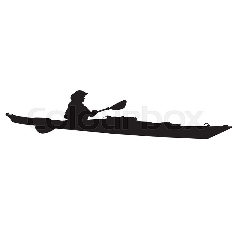 a black silhouette of a woman in a long kayak stock vector colourbox