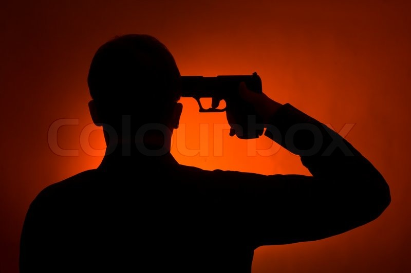 1452187-313660-silhouette-of-the-man-pointing-gun-to-his-head-ready-to-commit-suicide - Life on the edge - Photos Unlimited