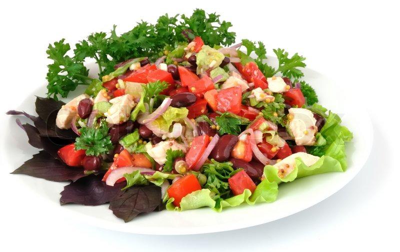 salat mit bohnen tomaten und h hnchenbrust salat zwiebeln in senfsauce mit knoblauch stock. Black Bedroom Furniture Sets. Home Design Ideas
