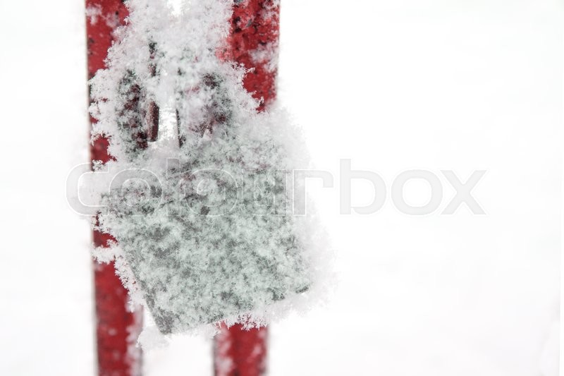 Snow Covered Retro Padlock Symbol Of Indifference Despair And