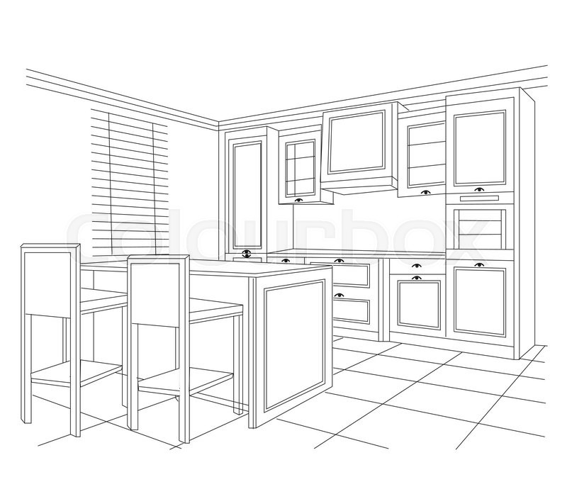 Sketch Of Kitchen Perspective Vector Stock Vector