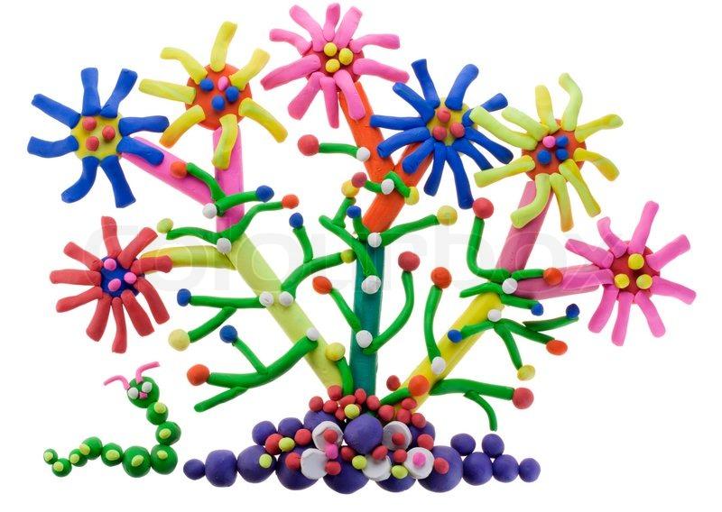 Kinder-Collage-fantastische abstrakten Plastilin Blume auf dem Bett ...