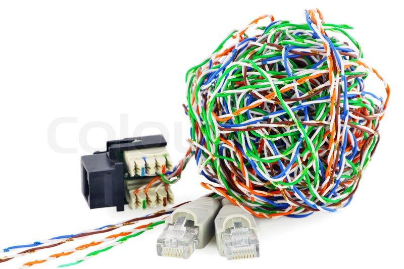 Ball from a color twisted pair and internet connectors. Isolated on ...