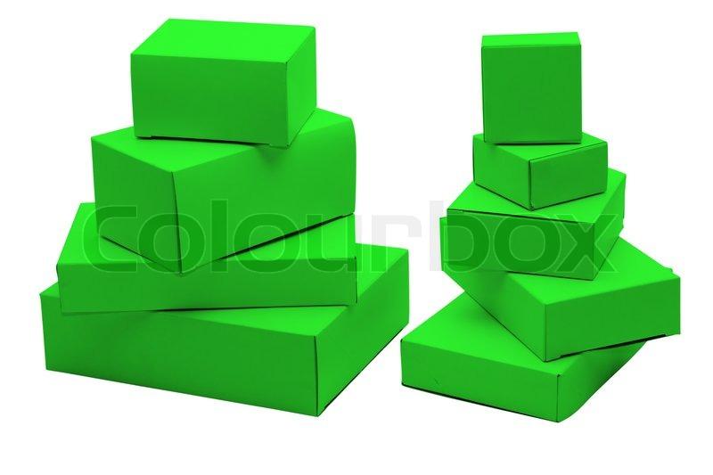 set kleine gr ne kartons von der unterschiedlichen gr e stockfoto colourbox. Black Bedroom Furniture Sets. Home Design Ideas
