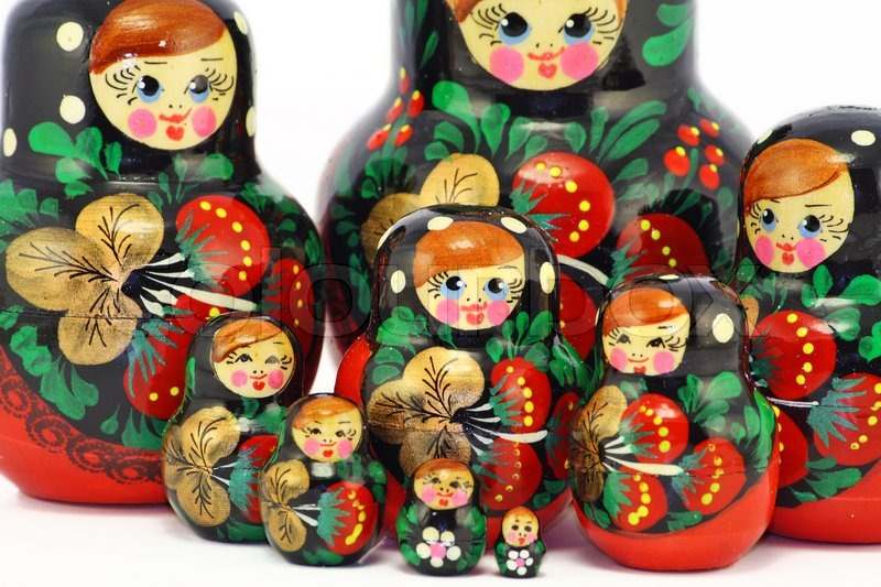 Multi-coloured bright wooden Russian children's toys of a ...