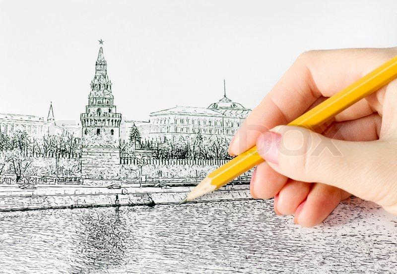 H nd holder en blyant og tegner kreml stock foto colourbox for Draw online share