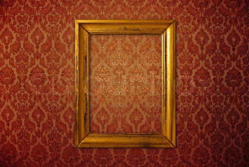 vintage rahmen ber rote tapete stock foto colourbox. Black Bedroom Furniture Sets. Home Design Ideas