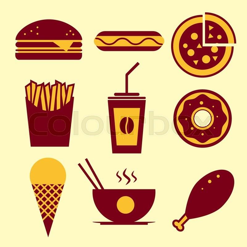 Fast Food Vector Icon Set Burger Ice Stock Vector Colourbox