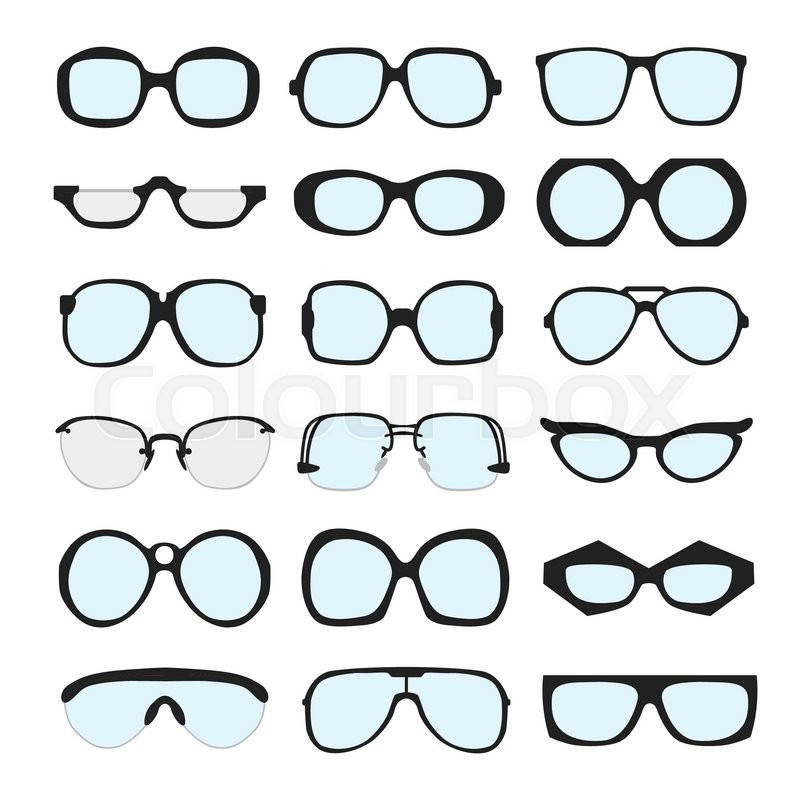 Vector set of different glasses with lenses on white background ...