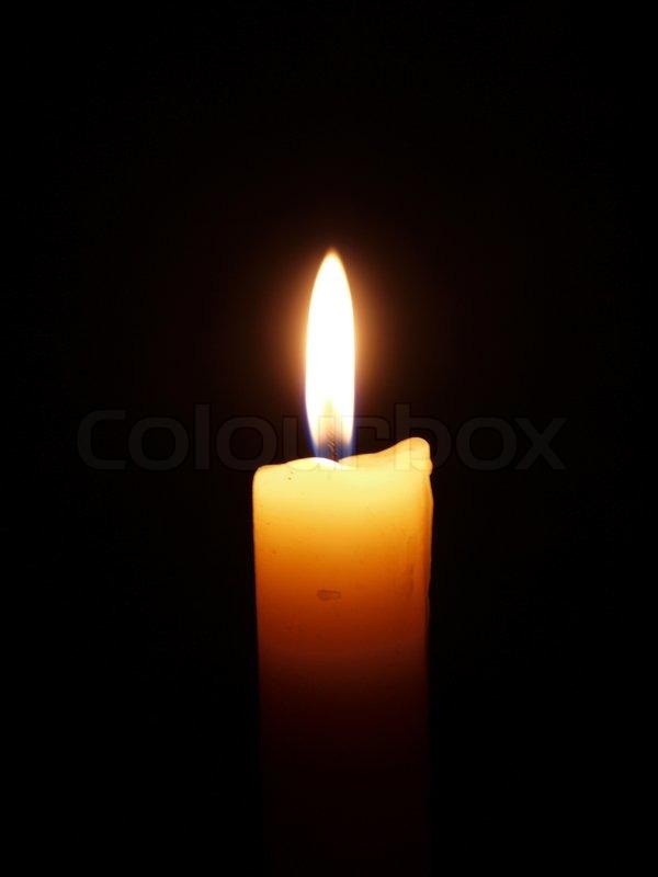 Candle On Black Background Stock Photo Colourbox