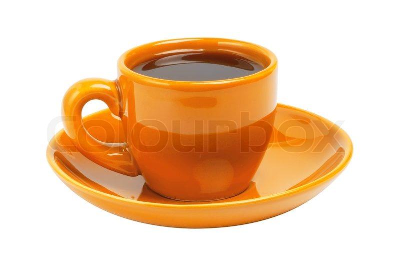 Orange coffee cup isolated on white background stock photo colourbox - Tazas de cafe de diseno ...