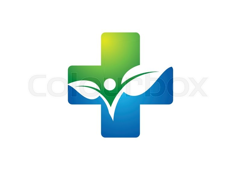 Medicine Health Iconcross Plant Logoplus Nature Symbolpeople Healthy Vector