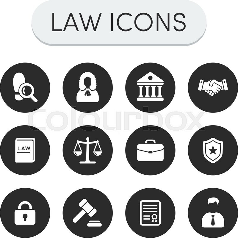 Set of round grey vector justice, law ...   Stock vector ...