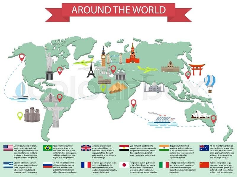 Infographic world landmarks on map kremlin eiffel big ben stock vector of infographic world landmarks on map kremlin eiffel big ben gumiabroncs Gallery