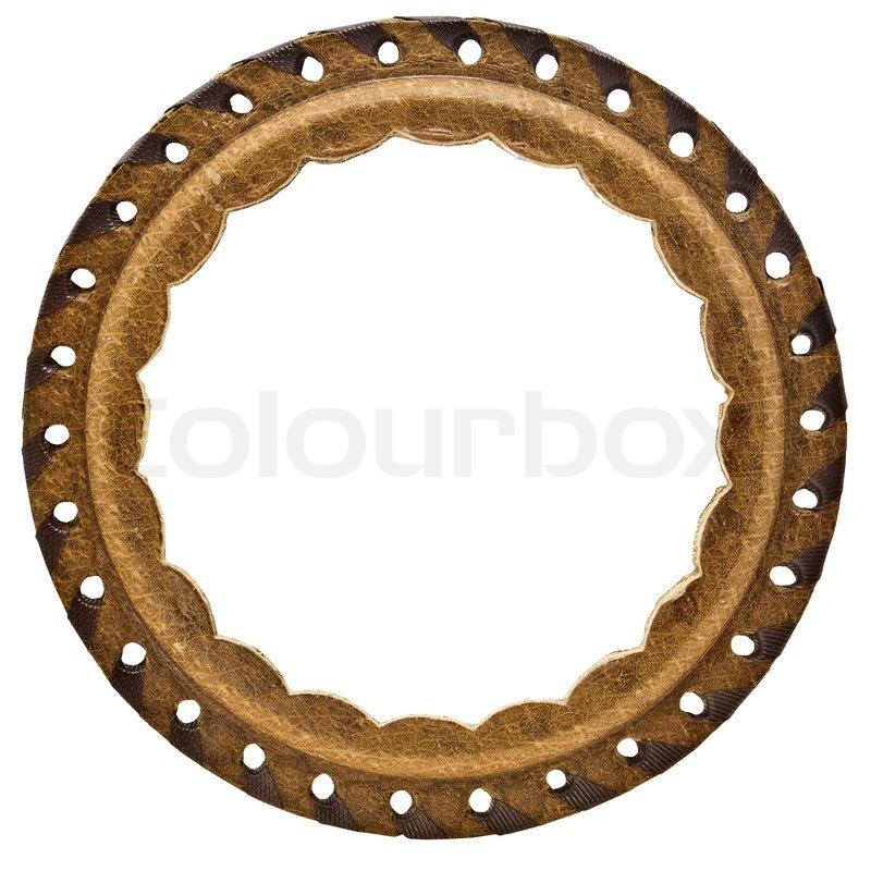 Jahrgang Hand gemacht runde Leder Rahmen isoliert auf weiß ...