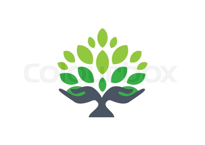 Tree Hand Logo Nature Wellness Health Symbol