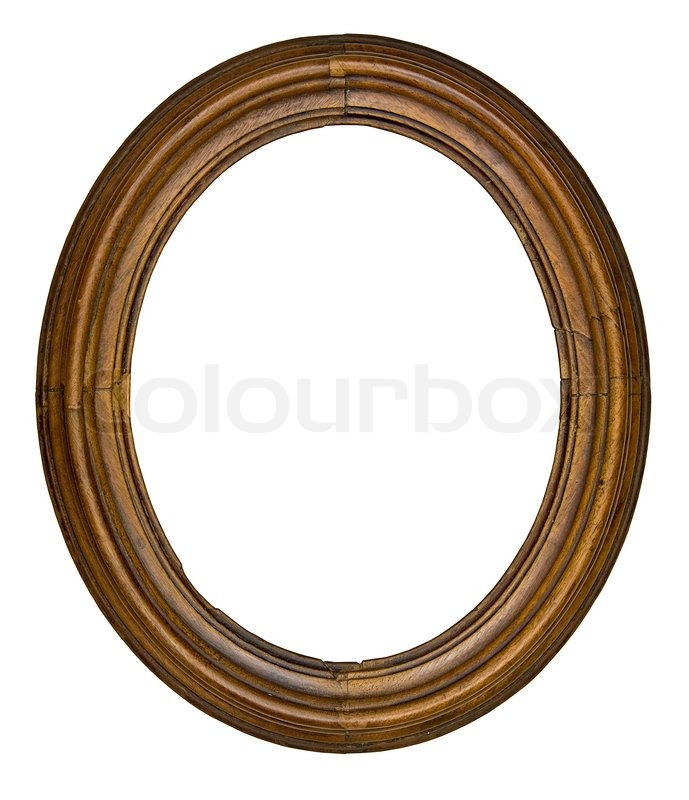 Vintage wooden oval frame isolated over white background | Stock ...