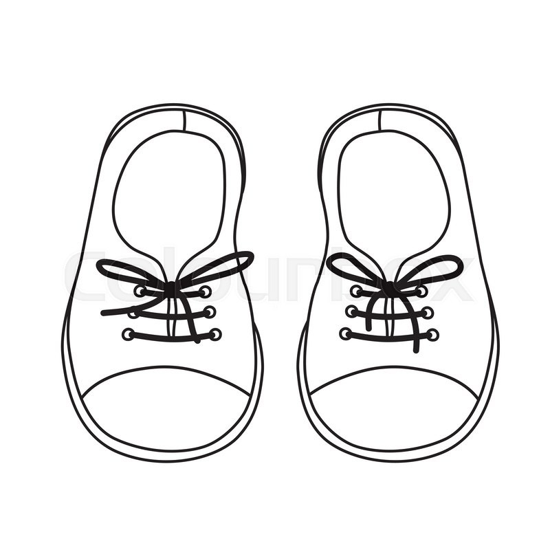 Hand Drawn Pair Of Kids Shoes. It Can Be Used For Decorating Of Invitations Greeting Cards ...