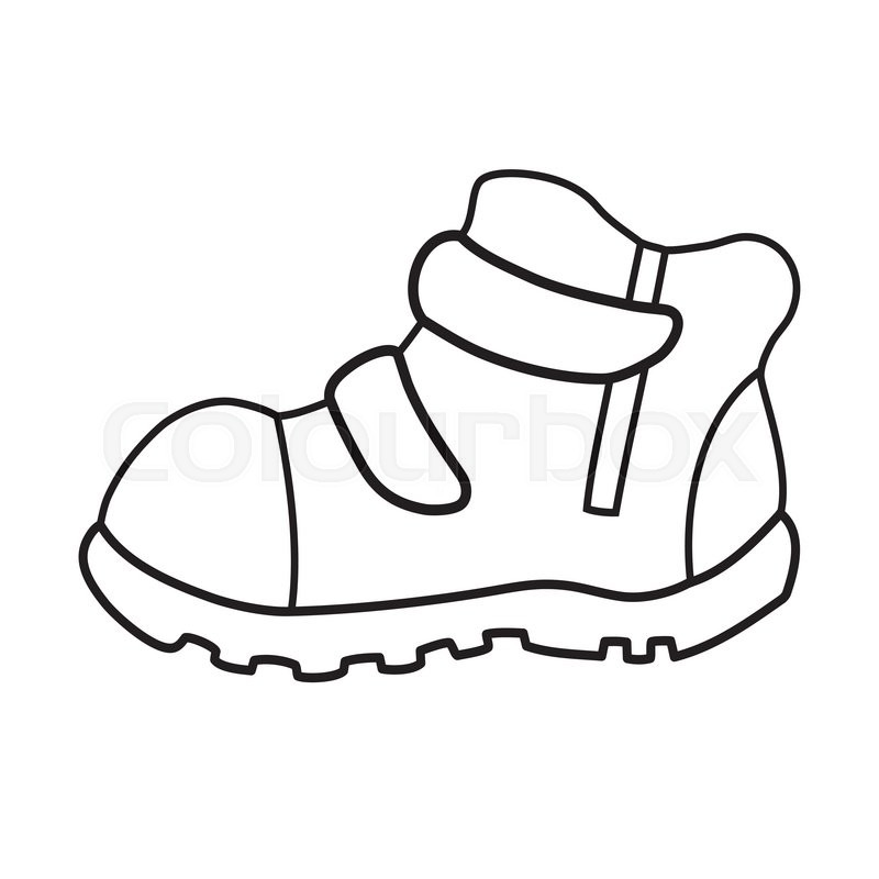 Shoe Flower Line Drawing : Hand drawn pair of kids shoes it can be used for
