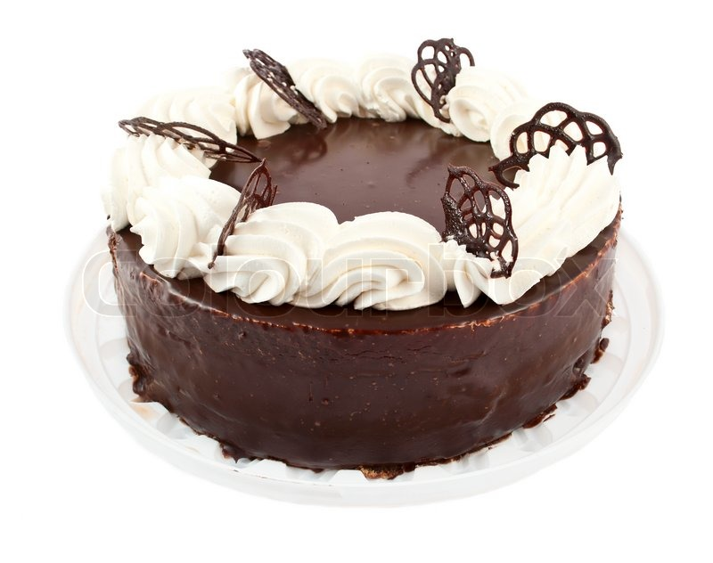Chocolate Cake On White Background Stock Photo Colourbox