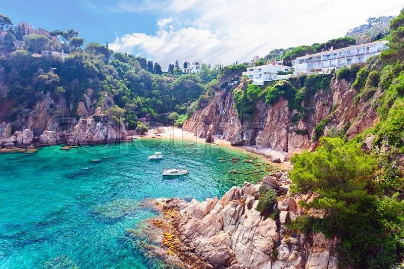 Seascape . Mediterranean coast of Spain, Costa Brava, stock photo