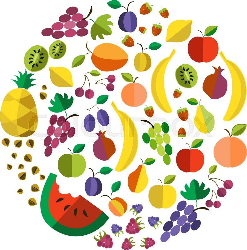 vector colorful illustration of colorful fruit template in flat