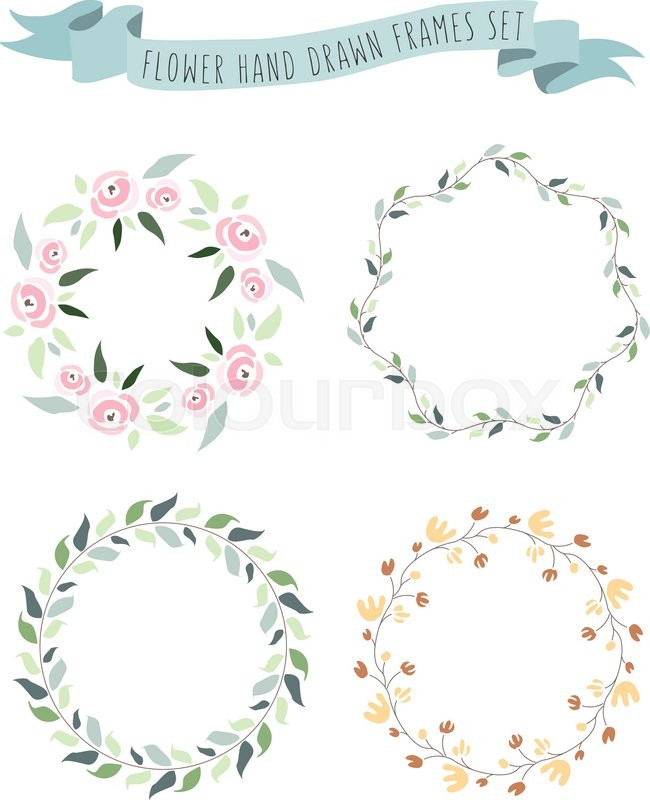 Vector illustration of hand drawn pastel flower and floral